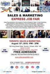 Toronto Sales & Marketing Job Fair - August 15th,  2019